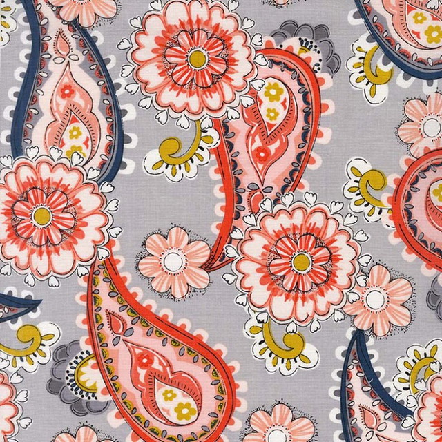 Gray/Coral Daisy Paisley (100% Cotton)
