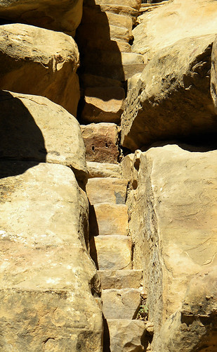 Narrow stairs at Balcony House, a cliff dwelling in Mesa Verde National Park, Colorado