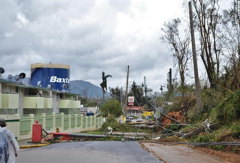 Carretera principal de Jayuya obstruida por postes caídos y deslizamientos.
