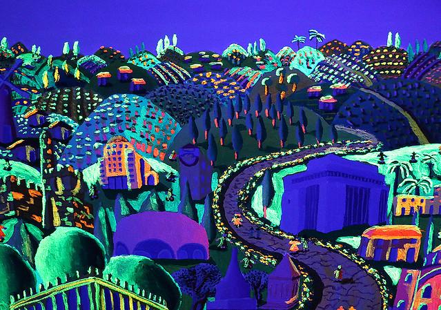 Phosphoreszierende Malerei Glühend in der Nacht im ultravioletten Licht