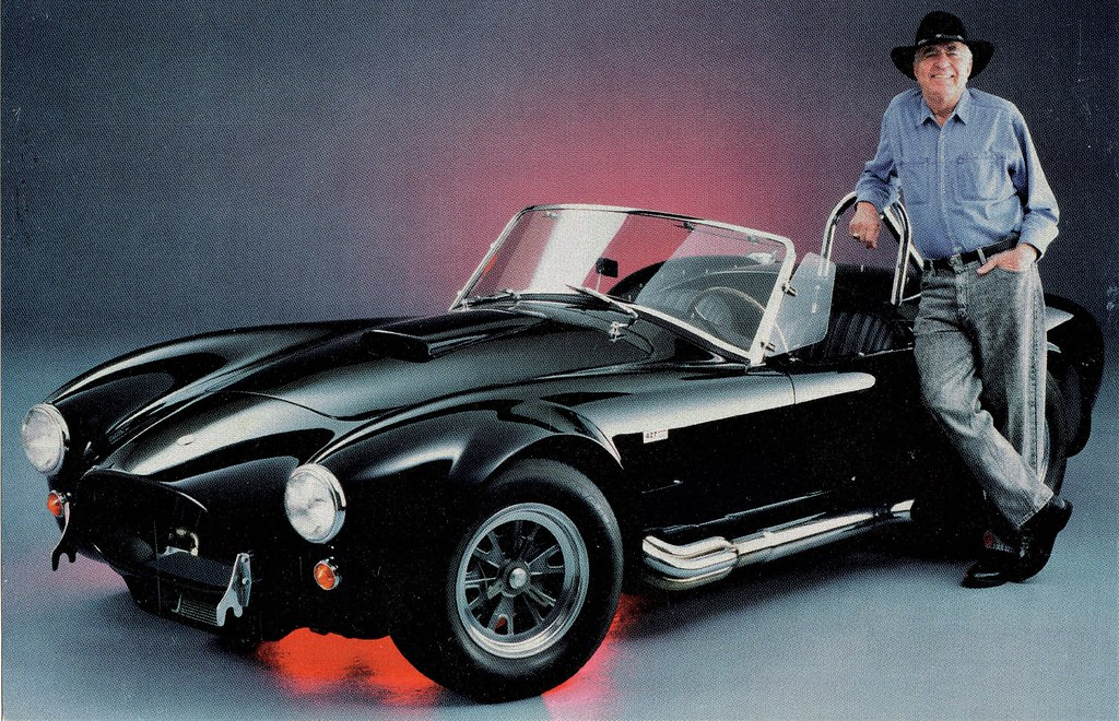 1965 Shelby Cobra 427 SC with Carroll Shelby | This postcard