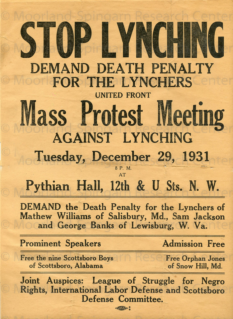 Stop lynching; demand death penalty: 1931 | A flyer advertis… | Flickr