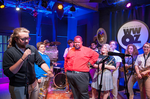 Desmond Venable in red with Riverdale High School on School Groove at WWOZ - Aug. 29, 2018. Photo by Michael E. McAndrew.