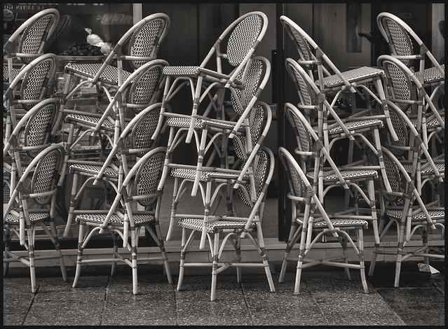 Rue Cler #1 2005; Stacked Cafe Chairs