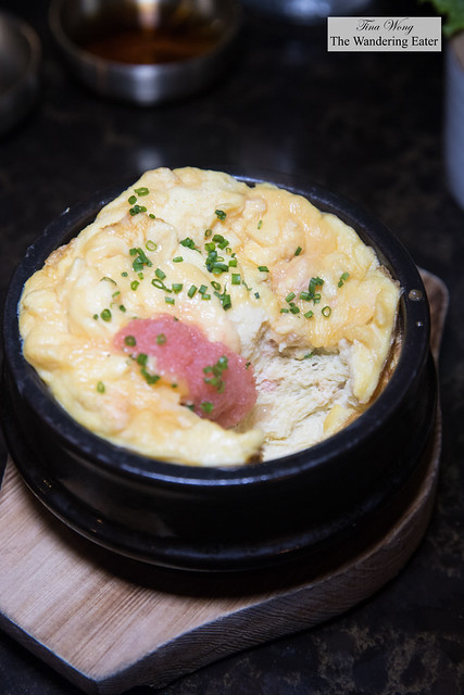 Egg souffle with spicy cod roe