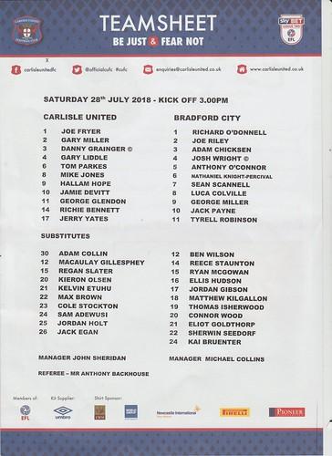 Carlisle United V Bradford City 28-7-18 | by cumbriangroundhopper