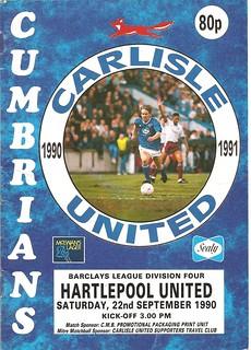 Carlisle United V Hartlepool United 22-9-90 | by cumbriangroundhopper