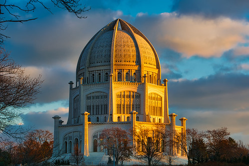 outdoors outside buildings building temple churches sunset sunlight bluesky light clouds aurorahdr illinois artsy