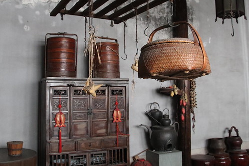 china landscape scenery travel brown 杭州 buildings furniture basket 竹籃 cupboard red gold fish kitchen teapots