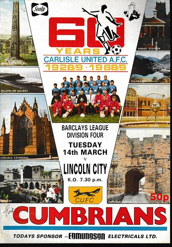 Carlisle United V Lincoln City 14-3-89   by cumbriangroundhopper