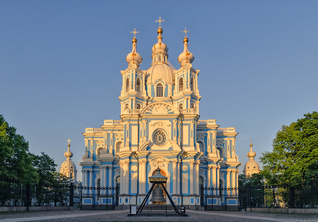 Smolny cathedral under sunset light.