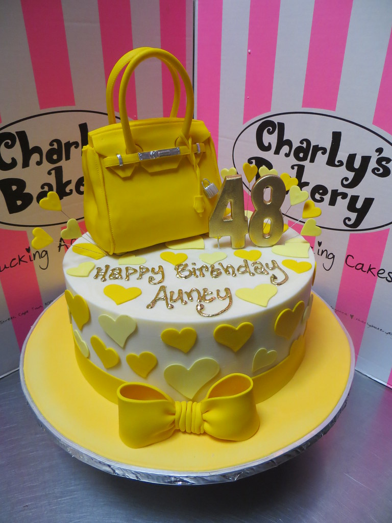 Fabulous Yellow White Birthday Cake With Hermes Birkin Bag On Top With Funny Birthday Cards Online Overcheapnameinfo