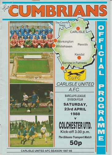 Carlisle United V Colchester United 23-4-88 | by cumbriangroundhopper
