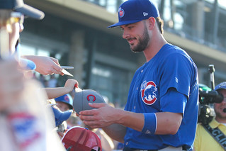 Kris Bryant signing autographs during his rehab assignment against Omaha | by Minda Haas Kuhlmann