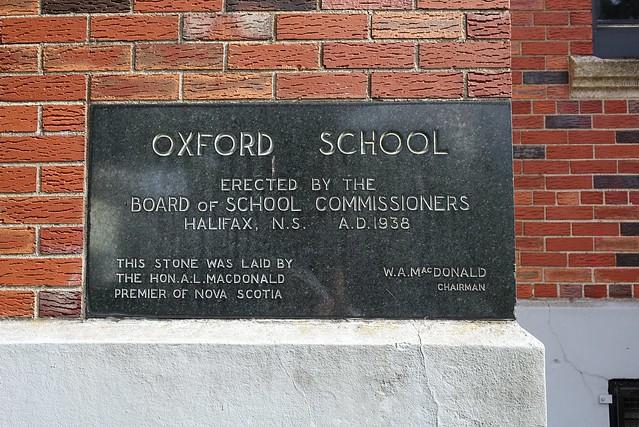 Cornerstone plaque of Oxford School, Halifax, Nova Scotia