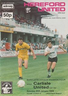 Hereford United V Carlisle United 30-1-88   by cumbriangroundhopper
