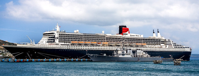U. S. Navy Destroyer Carney Docked Next to Cunard's Queen Mary 2 in St. Kitts