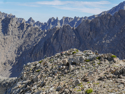 David, Bill, and Mike on the JMT north of Forester, Center Basin Crags in the background | by snackronym