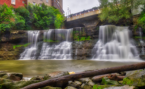 chagrinfalls chagrinriver hdr nikon nikond5300 ohio outdoor bridge buildings clouds geotagged log longexposure river rock rocks sky tree trees water waterfall unitedstates