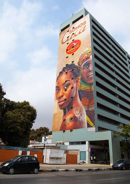 Cuca beer giant advertisement on a building, Luanda Province, Luanda, Angola
