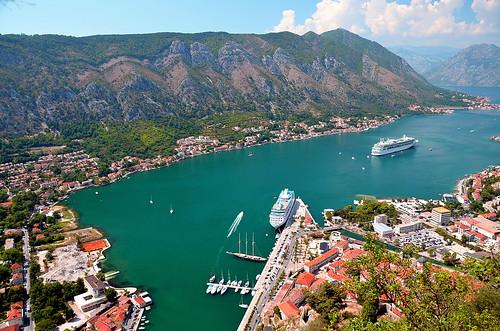 kotor bay montenegro crnagora sea cruiser view nikon summer holiday trip fortress mountain sky water landscape boat town port
