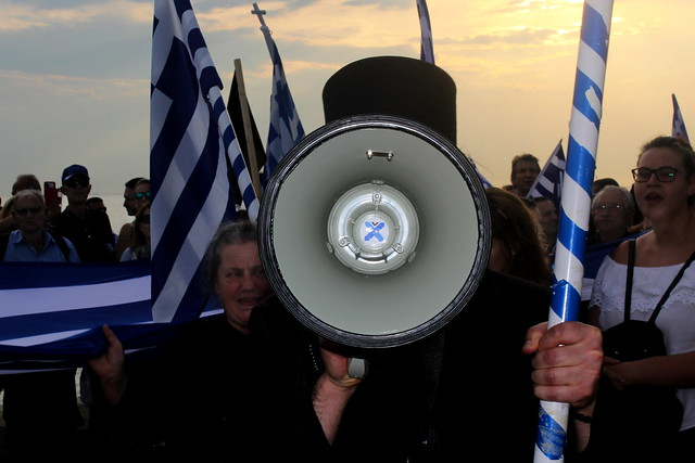 Greek priest at nationalist rally in the city of Thessaloniki