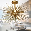 Sputnik Gold Spike Starburst Light Modern Glam Semi Flush Mount Ceiling Light