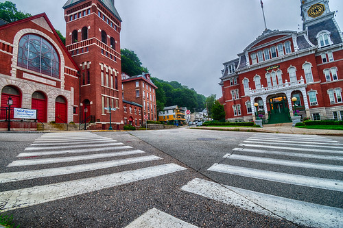 centralbaptistchurch connecticut hdr newengland nikon nikond5300 norwich norwichcityhall outdoor architecture city clouds crosswalk geotagged sky street red
