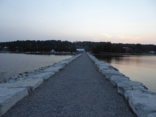 evening twilight summer breakwall breakwater gorebay marina manitoulin island ontario