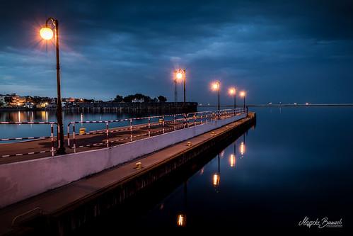 canon gdynia blue city clouds colors evening inky lamps landscape lanterns niebieski niebo night poland polska sky summer view pomorskie pl