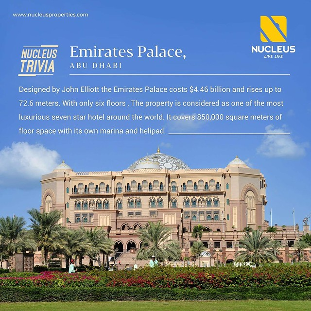 The Emirates Palace, Abu Dhabi with six floors, is considered as one of the most luxurious seven star hotel around the world. It covers 850,000 square meters of floor space with its own marina and helipad. Located on 1.3 km of breathtaking private beach,