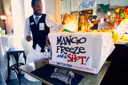 Mango Freeze and a shot at the WWOZ Groove Gala on Sep. 6, 2018. Photo by Eli Mergel.