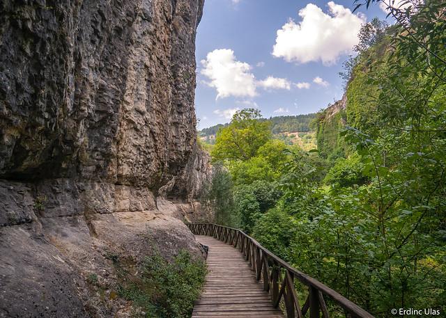 Wooden path through the canyon