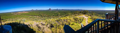 Glass House Mountains panorama from Wild Horse Mountain Lookout