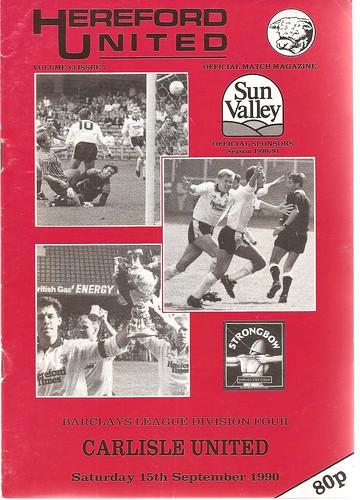 Hereford United V Carlisle United 15-9-90   by cumbriangroundhopper