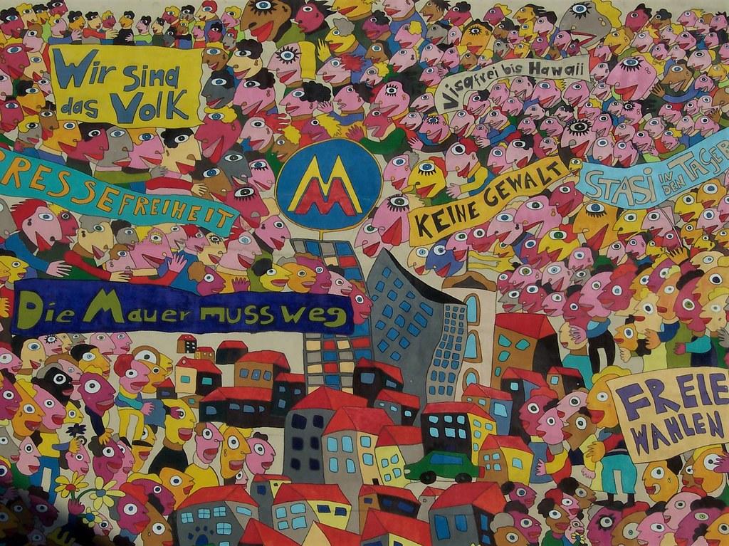 Leipzig mural marking 1989 demonstrations against Communist regime