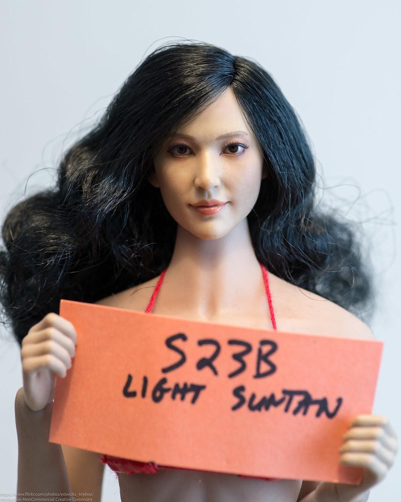 1//6 Asian Beauty Female Head Sculpt w// Golden Brown Hair in Suntan skin tone