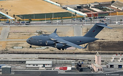 Royal Air Force Boeing C-17A Globemaster III ZZ173 low pass over RAF Gibraltar