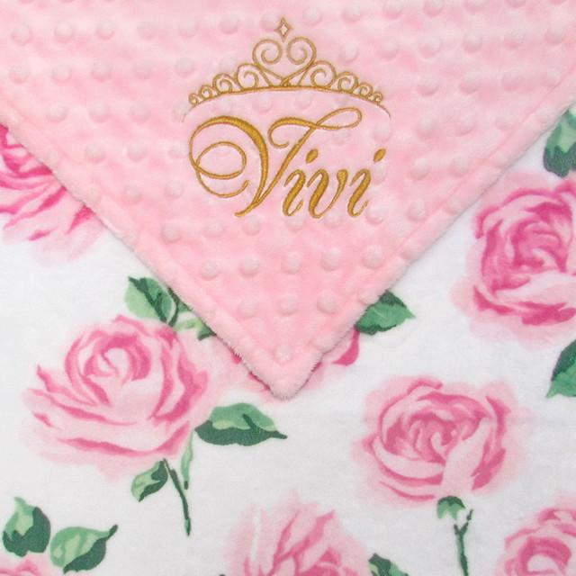 Watercolor Roses Minky Blanket