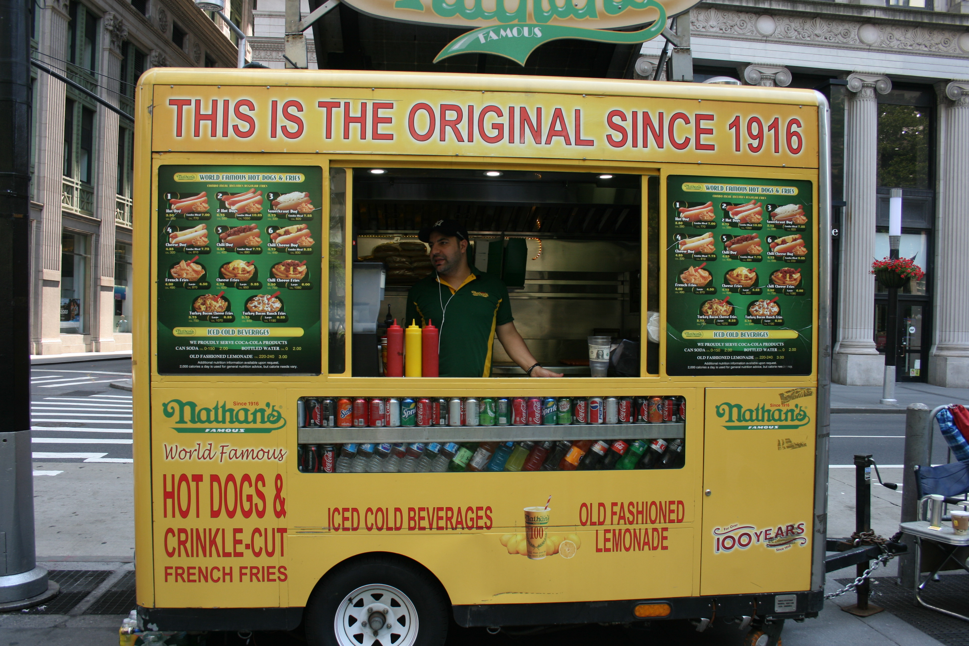 Times Square food stall, New York