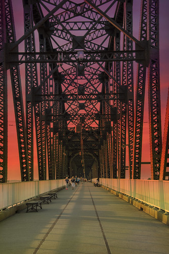 america architecture bigfourbridge bridge construction design detail dusk engineering girder indiana iron jeffersonville kentucky landscape louisville metal ohioriver pedestrianbridge pedestrians railroadtrussbridge road sky steel strength strong structure sunset support transportation usa vertical
