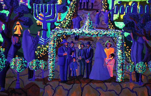 Pintura fosforescente que brilla por la noche en luz ultravioleta