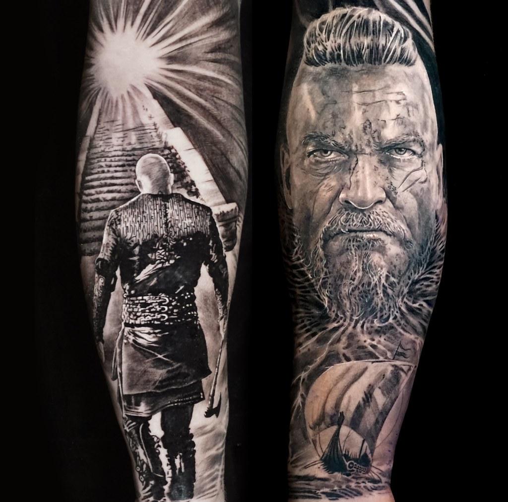 Black And Grey Tattoo Viking Warrior Full Forearm Sleeve Flickr