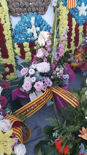 Ofrena floral per la Diada de'l'11 de setembre.