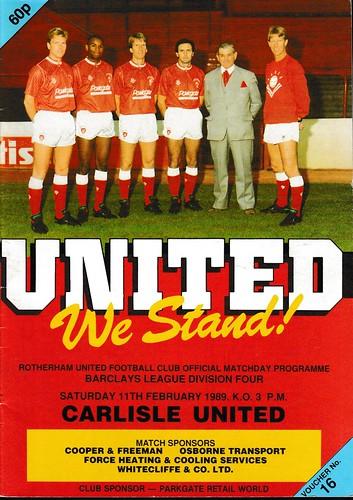 Rotherham United V Carlisle United 11-2-89 | by cumbriangroundhopper