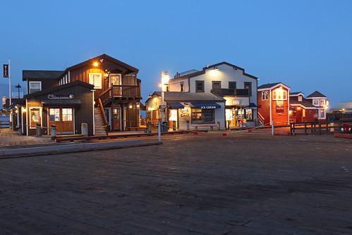 santa barbara california stearns wharf ca sunset pacific ocean palm trees beach water june 2018