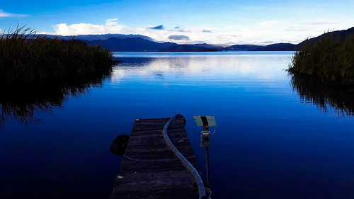 pier color blue lake water sky nature landscape colombia boyaca naturaleza mountains tota clouds sunrise campo hierba muelle