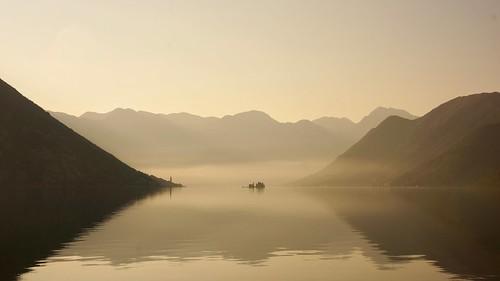 montenegro perast kotor bay sunrise silouhette travel landscape
