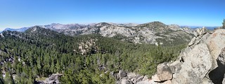 1508 Panorama west from Jakes Peak summit - Phipps Peak left of center, Rubicon Lake below it to the right | by _JFR_