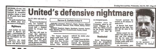 Barrow V Carlisle Match Report 27-7-87 | by cumbriangroundhopper